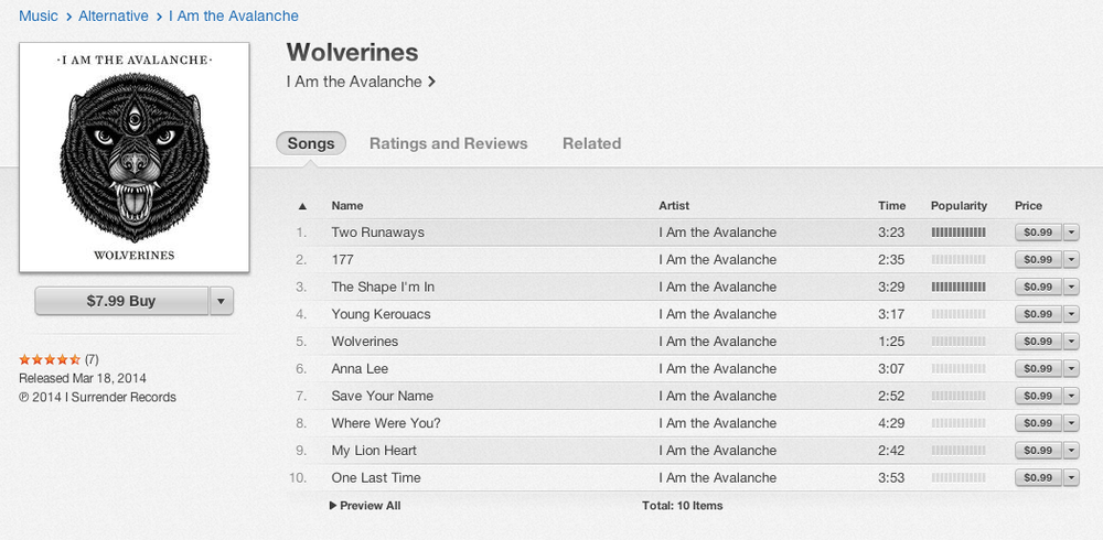 Well look what we have here I Am the Avalanche's record  Wolverines  is NOW ON ITUNES… go download it !