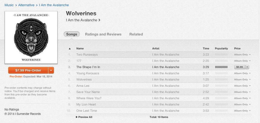 "Here's a little treat to start your week… I Am the Avalanche's new record Wolverines is available for pre-order on iTunes. It's only $7.99 and comes with an instant download of ""The Shape I'm In"" go get it!"