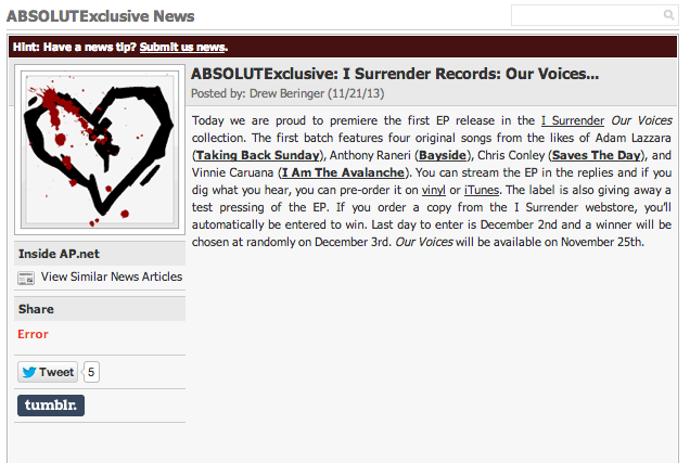 "Oh happy day!  Absolutepunk.net  is streaming Our Voices in its entirety. That's right all four brand new original songs from Adam Lazzara, Anthony Raneri, Chris Conley, and Vinnie Caruana can be heard  right here !    The EP + 12"" vinyl comes out MONDAY! Pre-order your copy on  iTunes  or through our  webstore  (where we're giving  a chance to win a test pressing to anyone that orders through 12/2).    If you live near Looney Tunes out in West Babylon, stop by and  order/pick up a copy !"