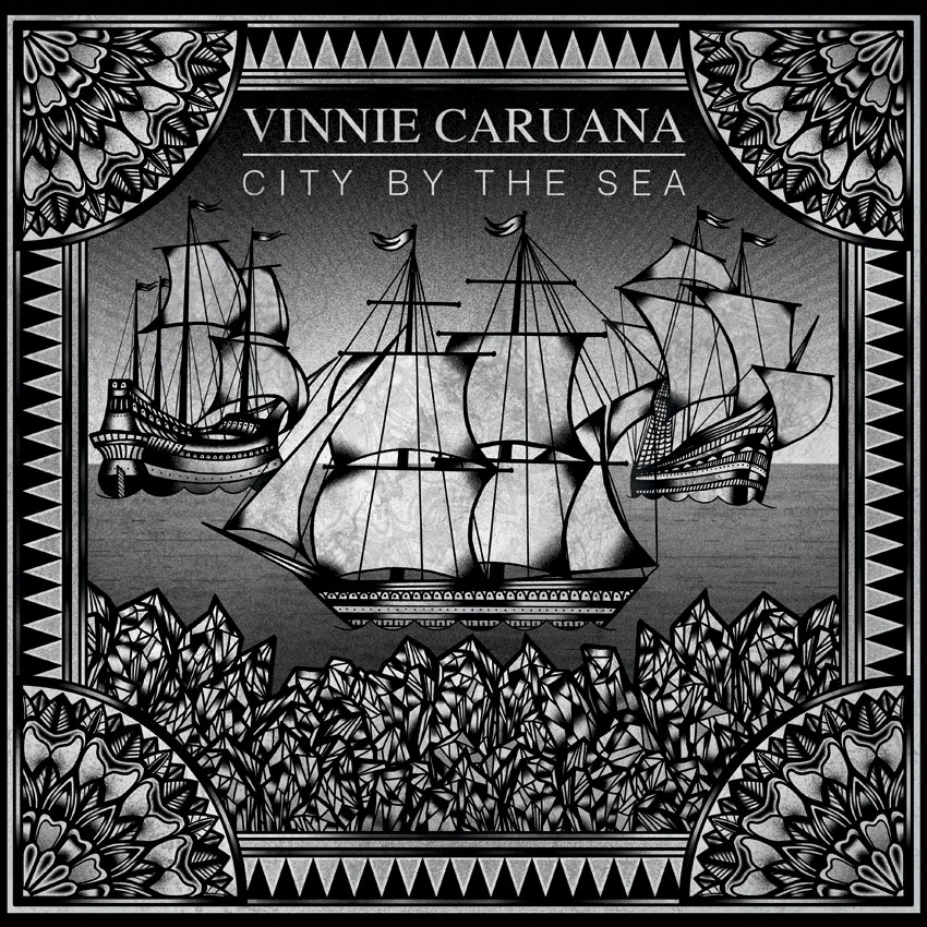"Today is the day! The new Vinnie Caruana EP ""City By The Sea"" is out. Download it on iTunes for only $4.99, or get the shirt/cd bundle from our webstore. You can also pick up a copy on CD or vinyl at any of the upcoming Acoustic Basement shows. Just hit up Vinnie's merch!"