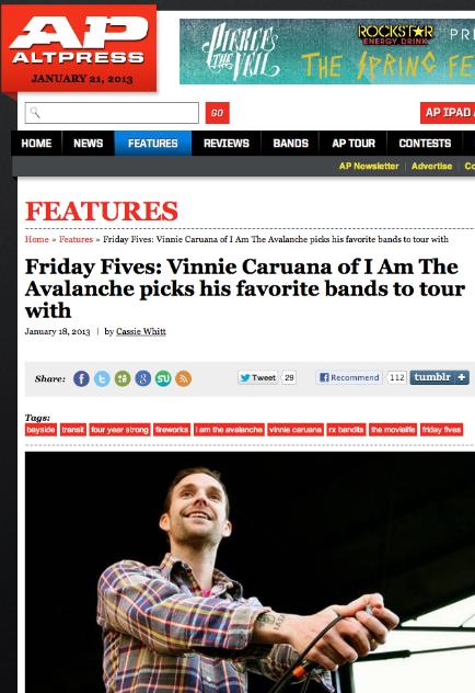 "It's Friday! Vinnie Caruana is featured up on Alternative Press' ""Friday Fives"". Check out his 5 favorite bands to tour with! Don't forget to pre-order City By The Sea out 2/5. - CD/Shirt bundle  - Vinyl"