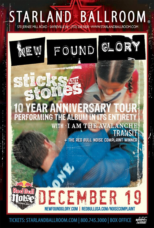 New Jersey!  I Am The Avalanche will be opening up for New Found Glory on their Sticks and Stones 10 year anniversary show at the Red Bull Noise Complaint Party.  It goes down on December 19th at Starland Ballroom in Sayreville.  Tickets  go on sale  this Thursday, Oct. 25th.