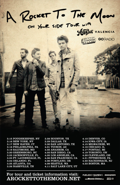 Valencia is proud to announce that they'll be hitting the road with A Rocket To The Moon, Anarbor, Runner Runner, and Go Radio this spring! Dates are up on  Valencia's website . A limited number of pre-sale tickets will be available starting January 10th exclusively through  A Rocket To The Moon's website . General on sale will begin on January 15th. Is it too early to start talking about spring cleaning?