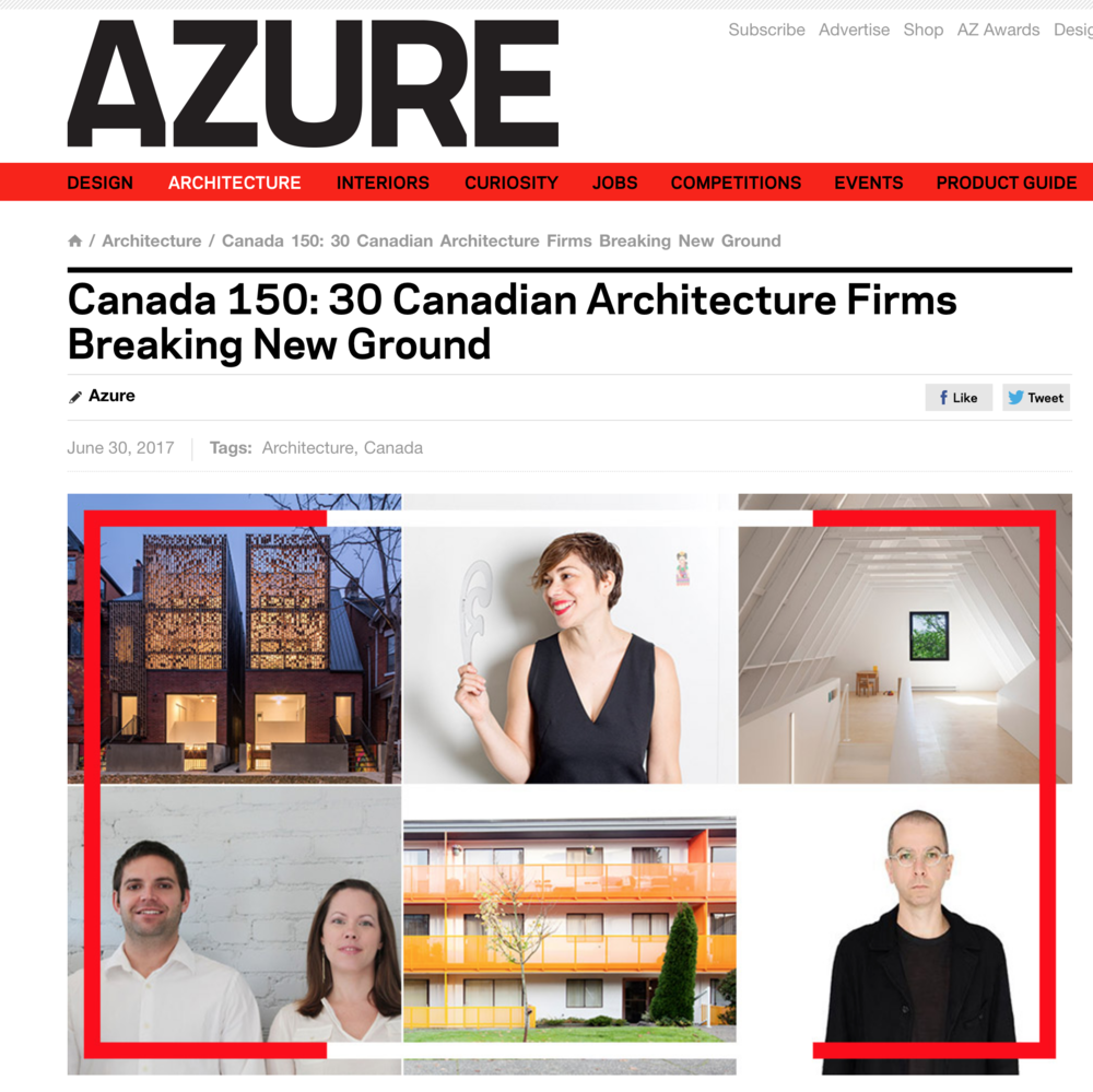 Office Ou included in Azure's list of Canadian Architecture Firms Breaking New Ground