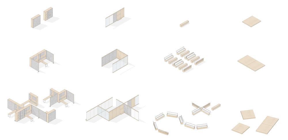 Project cubbies, demountable walls, benches, platforms