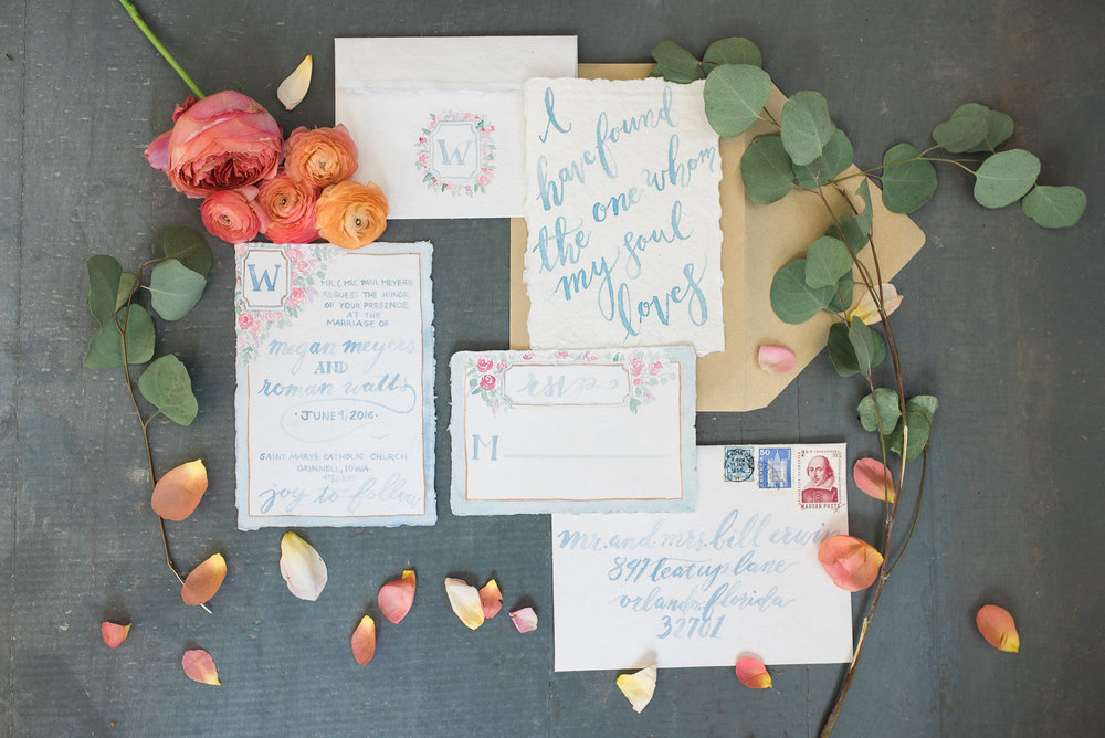 Cami Monet Custom Watercolor Wedding Invitations | Orlando Calligrapher