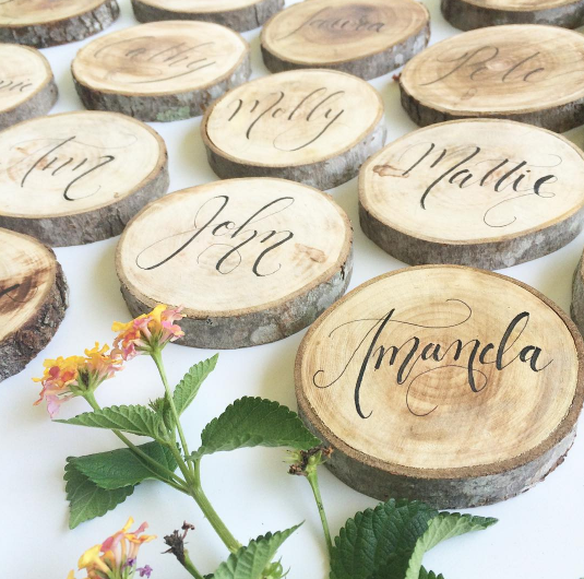 Cami Monet Calligraphy | Wooden Place Cards | Rustic Wedding Ideas | Orlando Calligrapher