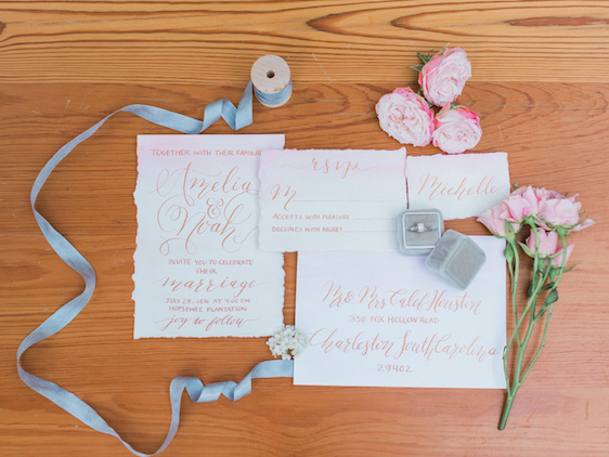 Cami Monet Watercolor Calligraphy | Custom Pink and Gold Watercolor Wedding Invitation