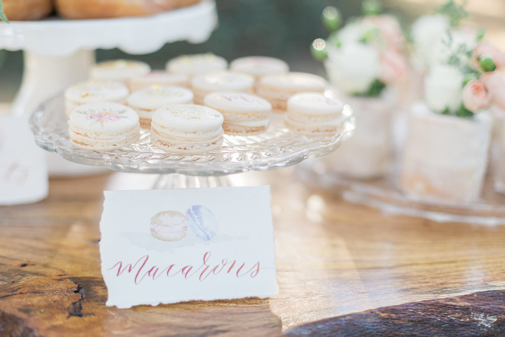 Cami Monet Watercolor Macaron Dessert Sign | Custom Watercolor Wedding Invitations