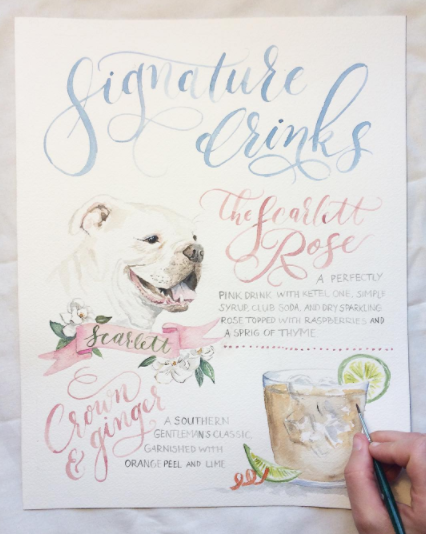Custom Watercolor Signature Drink Sign | Pet Portrait Drink Sign | Cami Monet