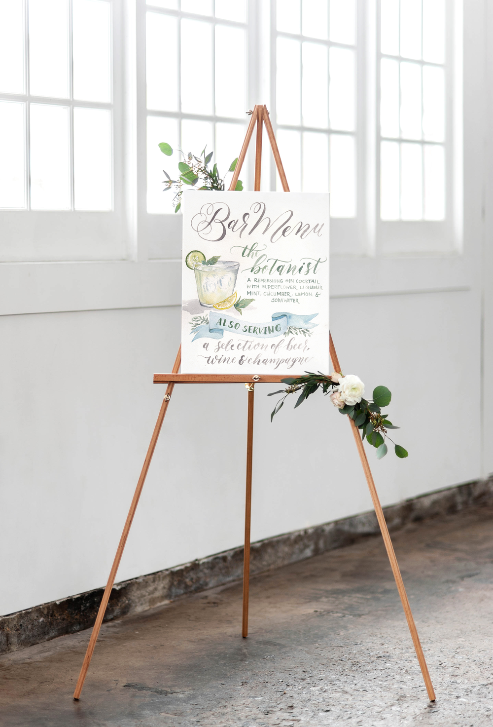 Custom Watercolor Signature Drink Wedding Bar Sign | Cami Monet