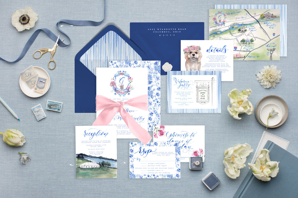 Cami Monet Watercolor Wedding Invitations | Custom Watercolor Wedding Map | Custom Wedding Stationery