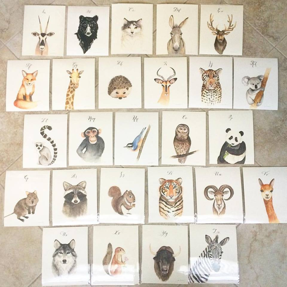 The first prints of the animal abcs collection in 2016! these were Hand-lettered with the alphabet for a nursery.