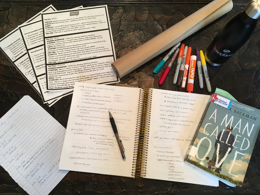 My supplies: Retreat Guide by  Bold & Sassy Solutions , my schedule, notebook, reading book, poster, markers and pens.