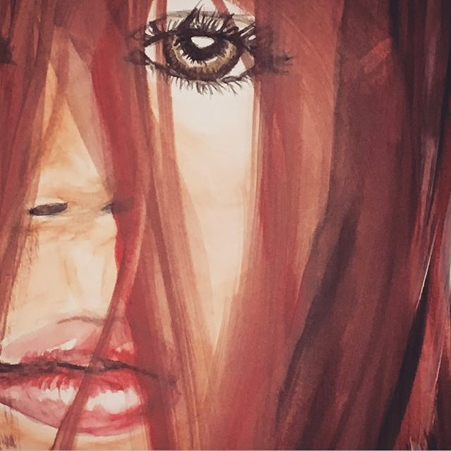 #watercolor #redhair #painting #female #pressforprogress #femalegaze #lookingatyou #lookingatme #lookingatart #art #artoninstagram #portrait