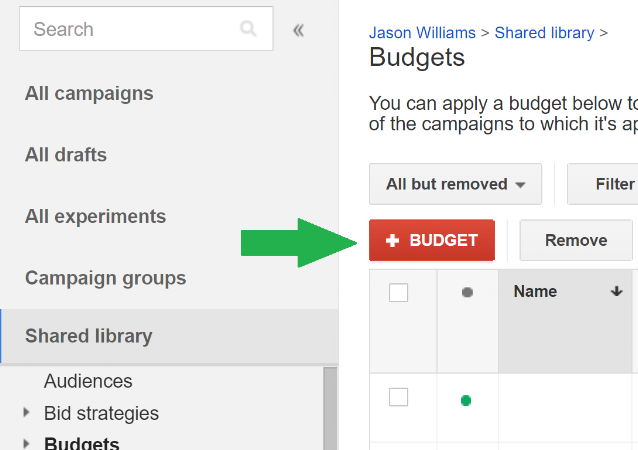Google Ad Grant Shared Budget