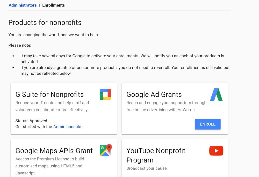 Google for nonprofits enrollments