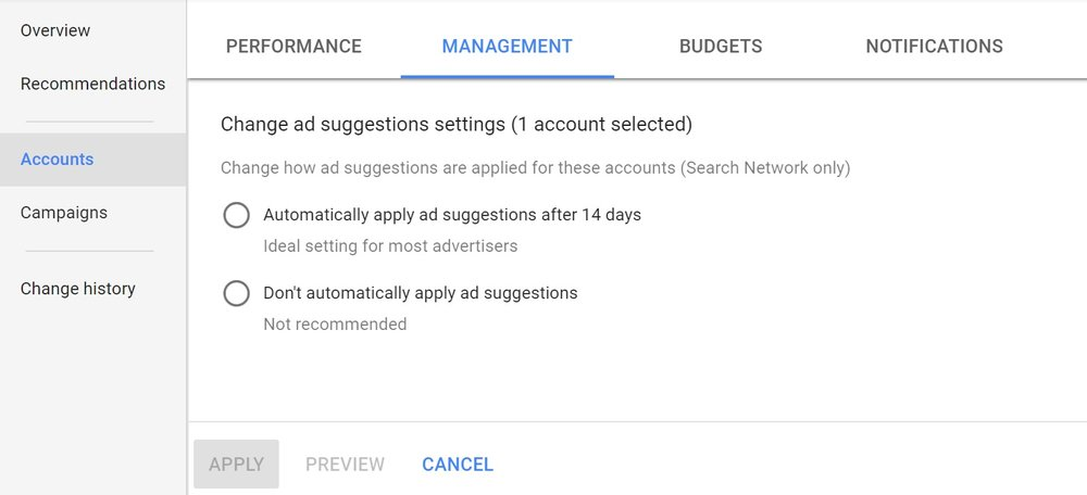Google Ad Suggestion options