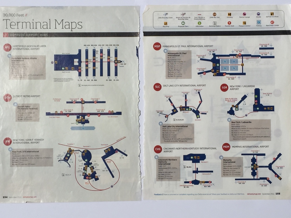 Terminal maps from Delta's Sky inflight magazine.