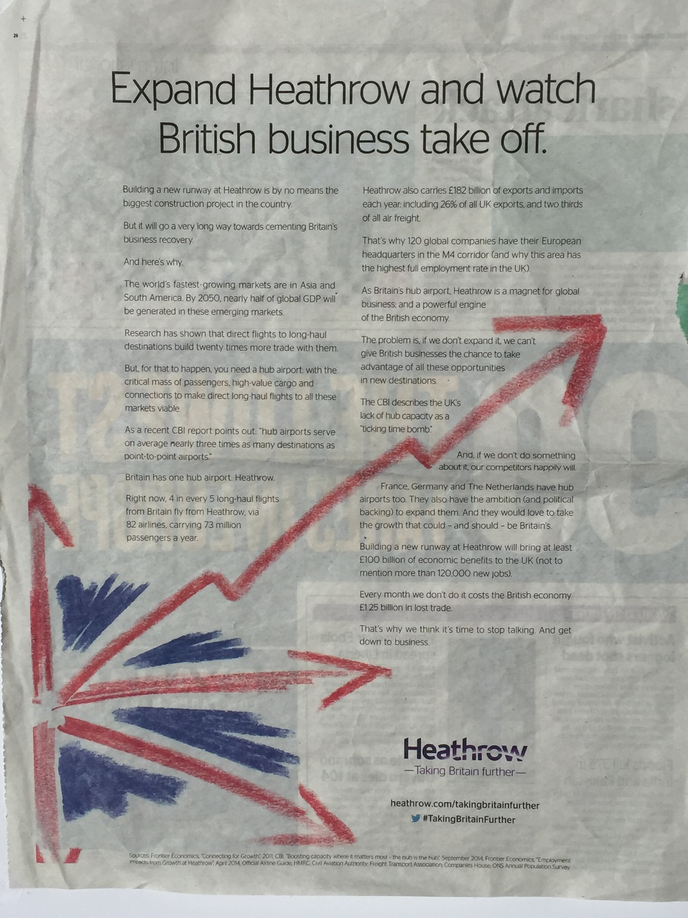 Advert in the London Evening Standard by the campaign for a third runway at London Heathrow, already one of the top five busiest airports in the world.