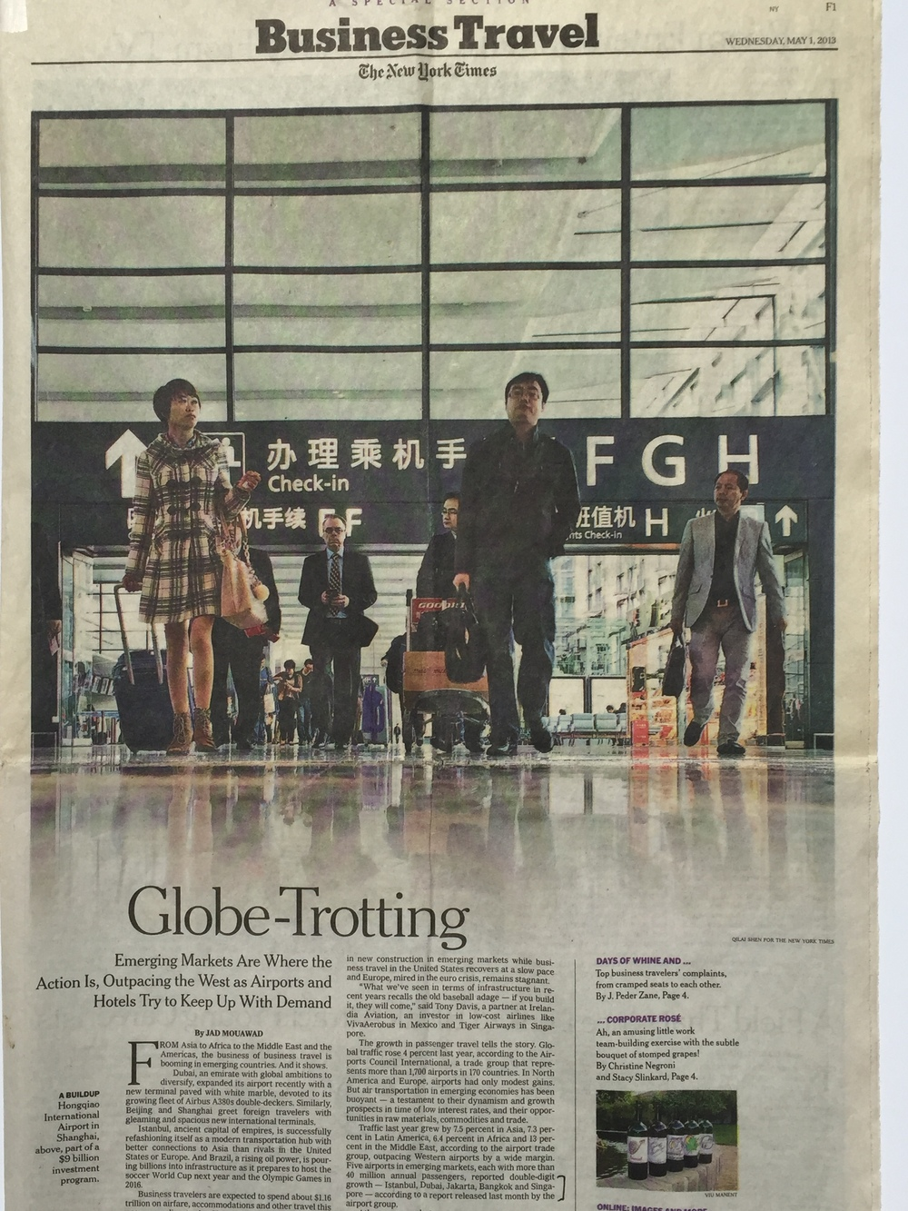 New York Times  Business Travel supplement, May 2013, on the correlation between airport construction/expansion, and emerging markets.
