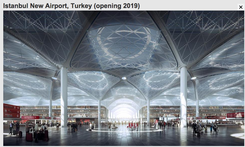 Istanbul New Airport, by Grimshaw/Haptic/Nordic Office of Architecture Image via bbc.com, The World's Most Spectacular New Airports, 1.20.2015