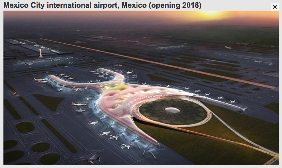 Mexico City International Airport, designed by Foster and Partners. Image via bbc.com, The World's Most Spectacular New Airports, 1.20.2015