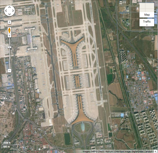 Beijing airport, 2000 ft/500 m scale view
