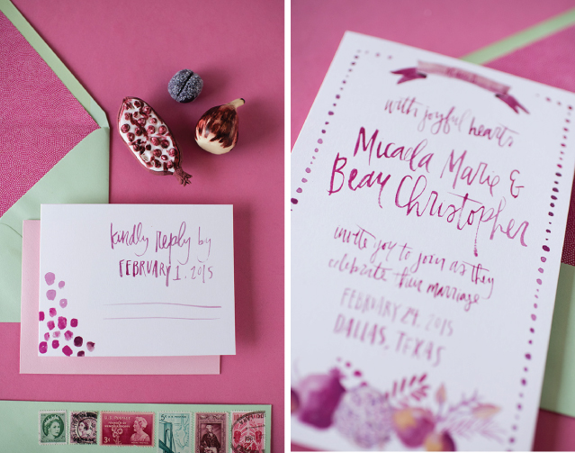 Custom watercolor lettering on this wedding invitation suite