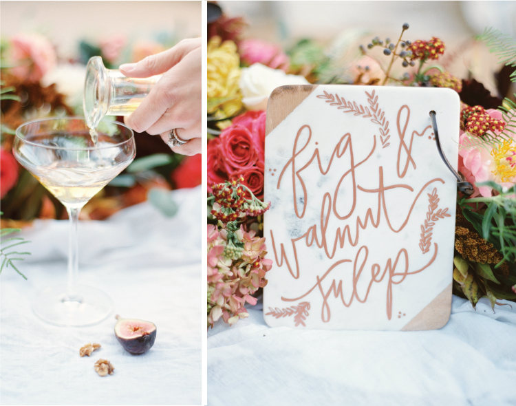 A fun way to display your signature cocktails at the wedding reception bar areas - a handlettered sign on a beautiful cutting board.