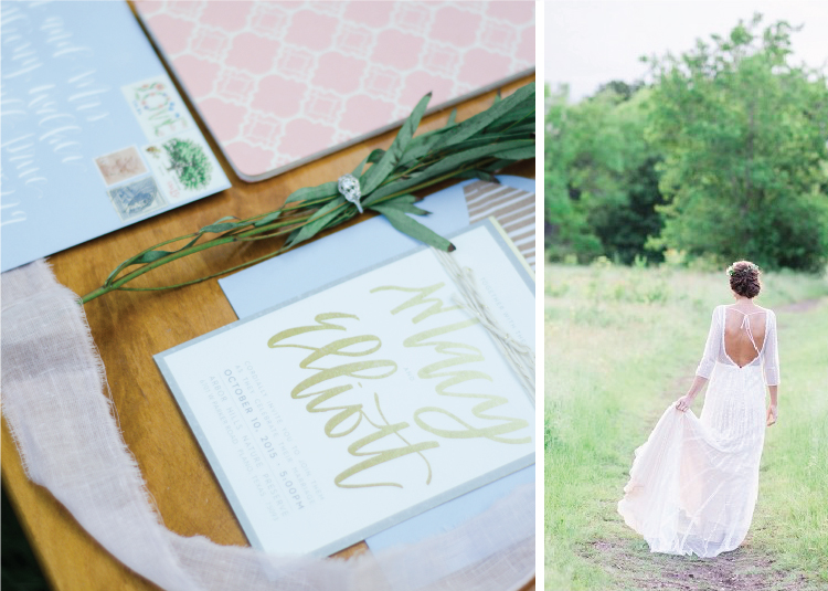 Dusty blue and blush pink wedding inspiration.