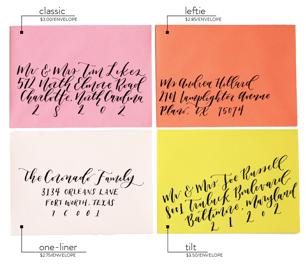 Goldie Design Co. Custom Wedding invitation calligraphy styles