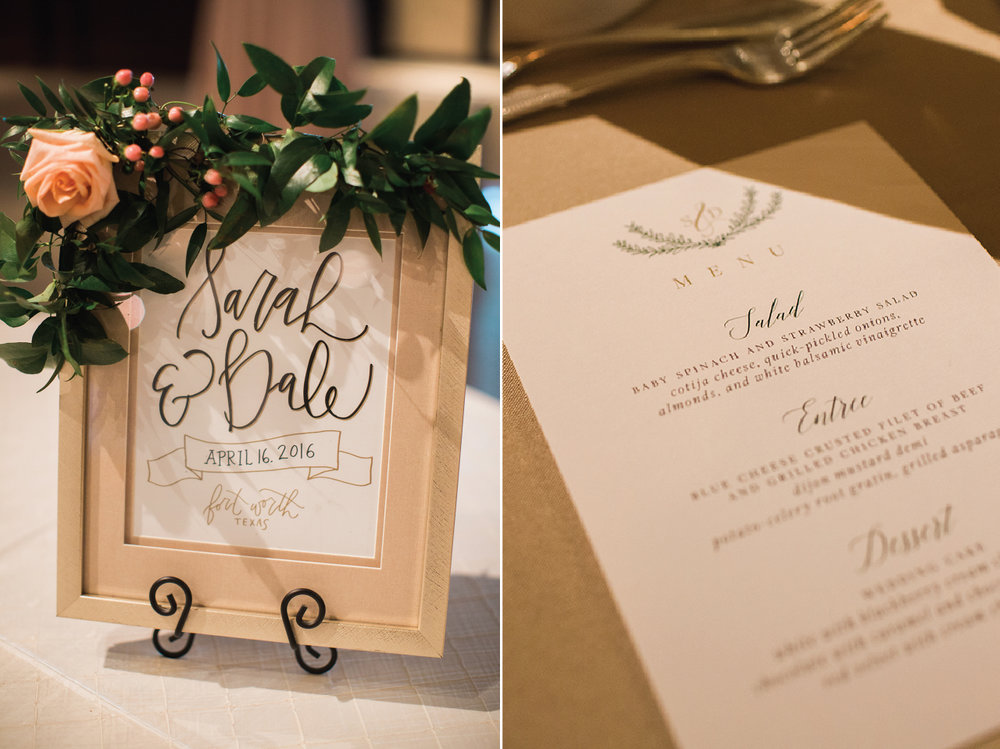 Custom wedding signage for Ridglea Country Club Wedding Reception.