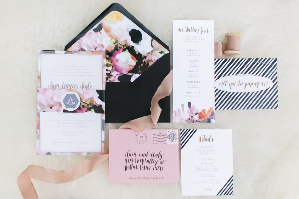 Watercolor wedding invitations with black and white classic accents.