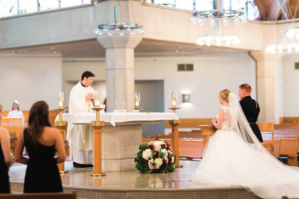 Catholic wedding ceremony in Dallas Texas, St. Rita Catholic Church
