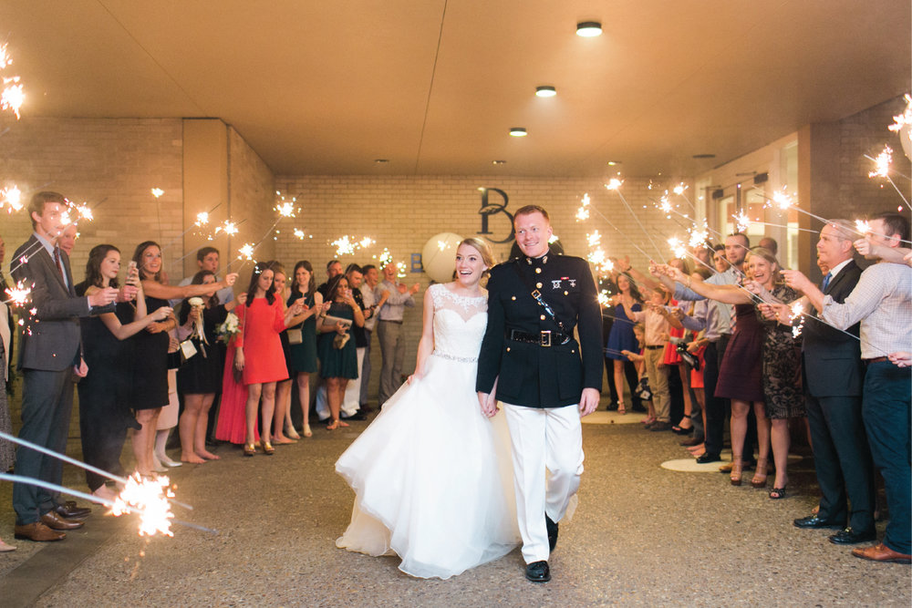 Sparkler wedding exit at Brookhaven Country Club in Dallas, Texas