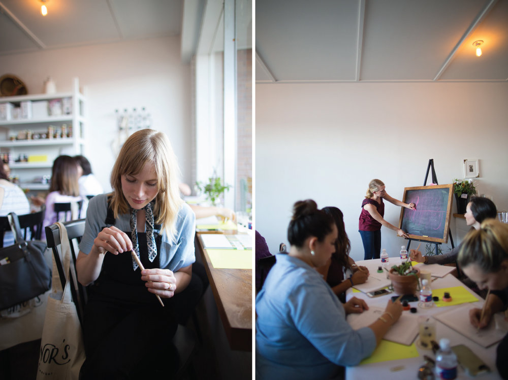 Student's at Eleanor's Coffee Bar + Market taking a Goldie Design Co. modern calligraph class!