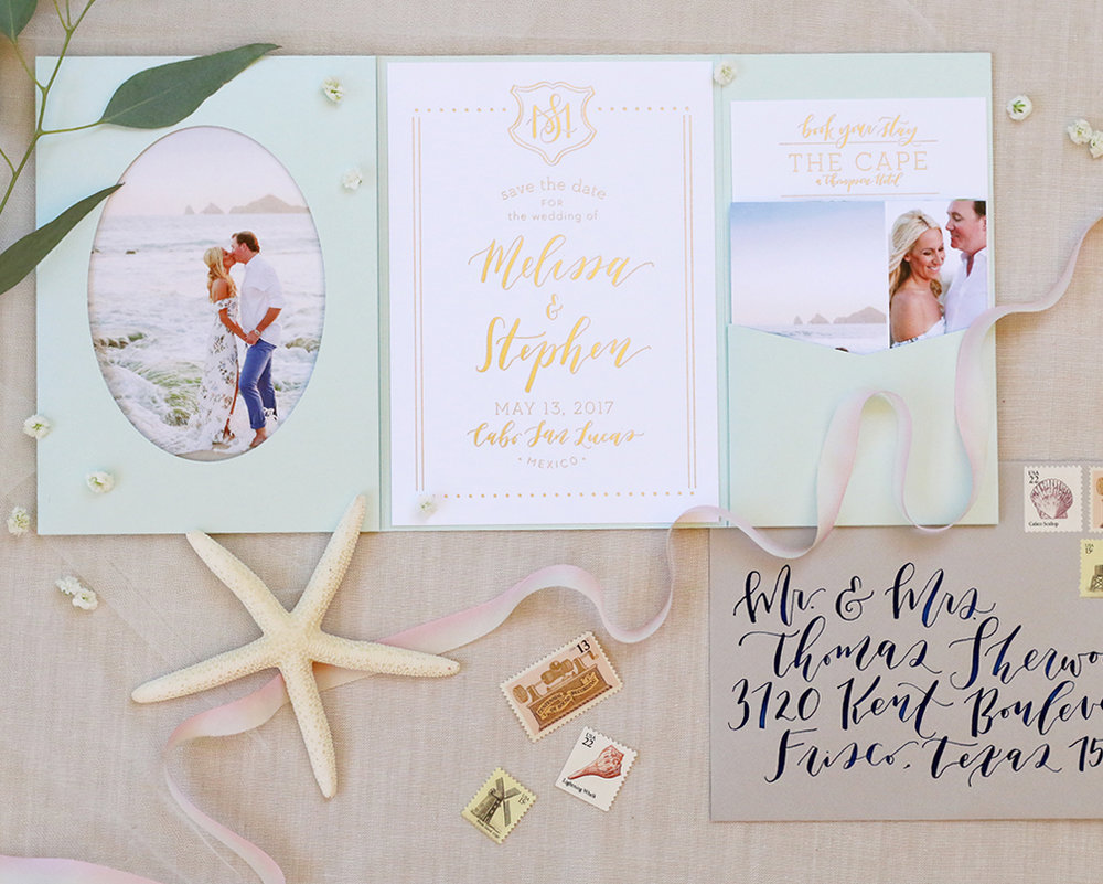 Modern and elegant Cabo beach destination wedding Save the Date