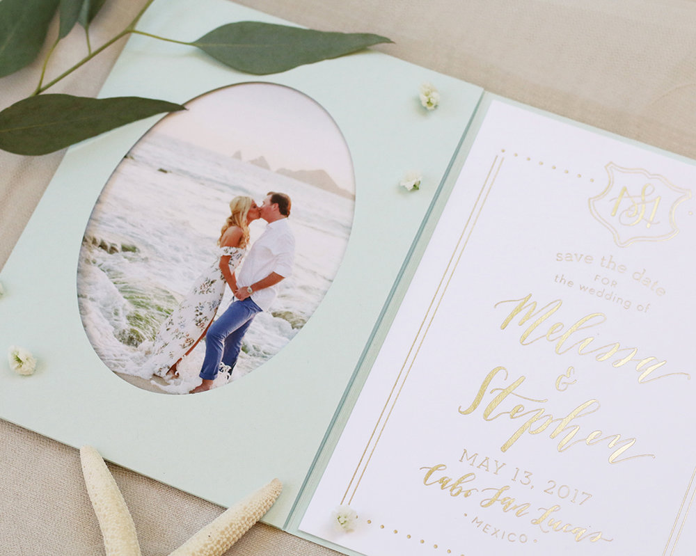 Cabo San Lucas destination wedding Save the Date, elegantly printed in gold foil.