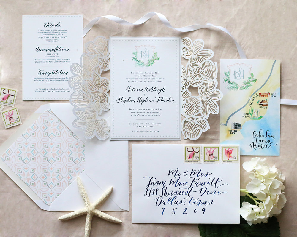 Cabo San Lucas destination wedding invitation suite.
