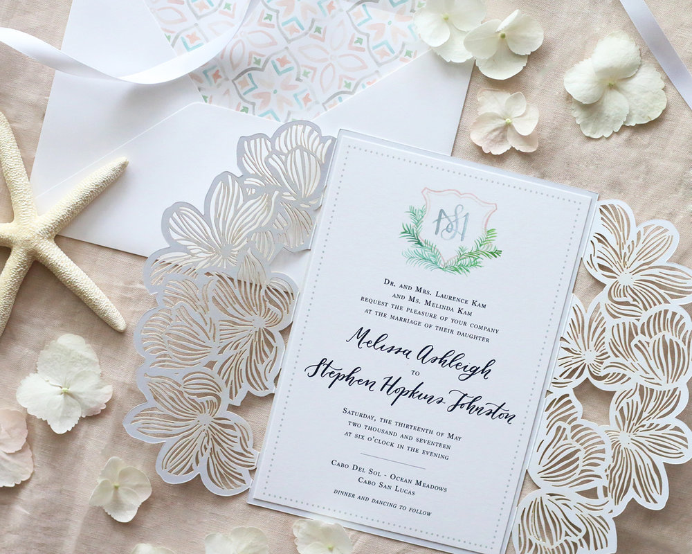 Custom watercolor wedding crest and laser cut invitation enclosure