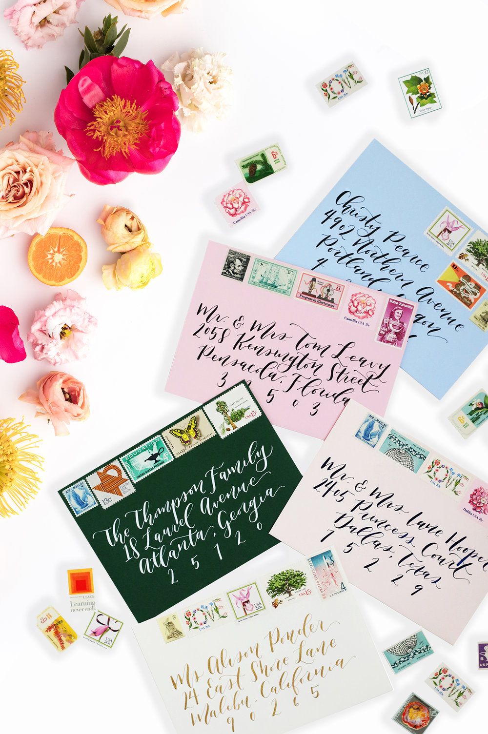 custom wedding envelopes with calligraphy and vintage stamps