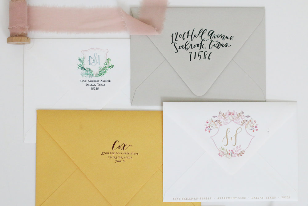 Blog goldie design co custom wedding invitation for Return address envelopes for wedding invitations