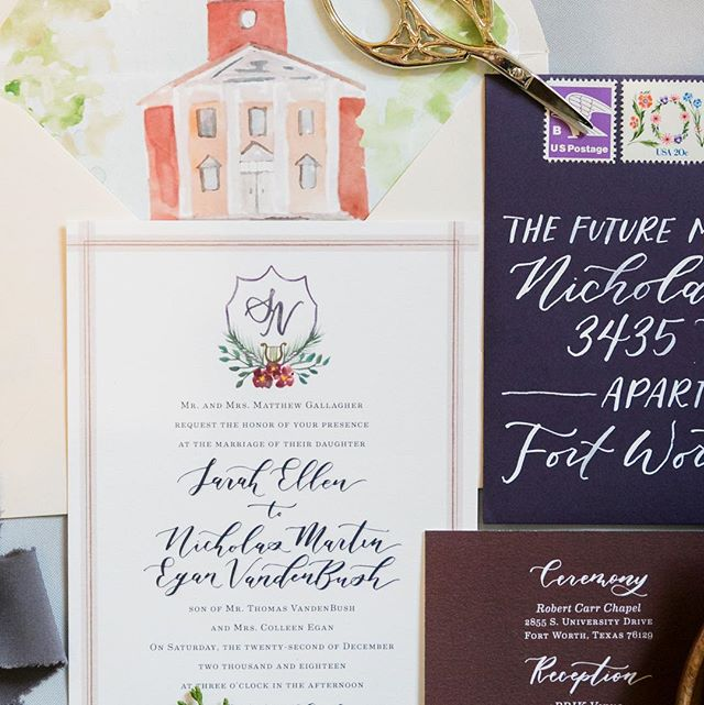 Jewel tones for Sarah and Nick's winter toy wedding this past December! Loved pairing it with a blush inner envelope that flaunted a watercolor venue illustration! Photo by @tracyautemphotography, Paper by me!