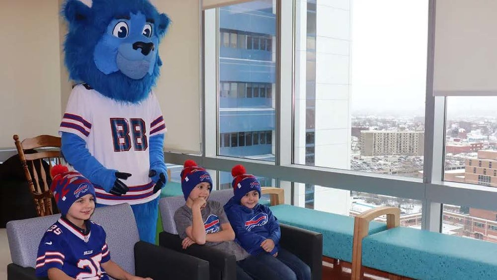 """059d3e42a1f Children at a local hospital get surprised with custom New Era knits  designed by Bills head. """""""