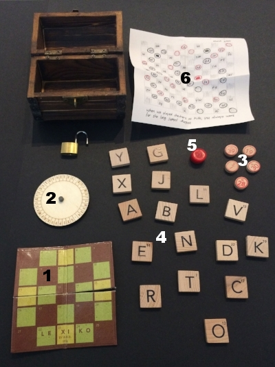 - Order of placement in this box is not important - only that items fit inside!1. LEXIKO board, folded up2. Larger section of the decoder wheel3. 1/3 of BINGO tiles*5. All letter tiles*6. Checker king*7. Hand-drawn Checker puzzle, folded in quarters.*see section 1. Preparation of Specific Items