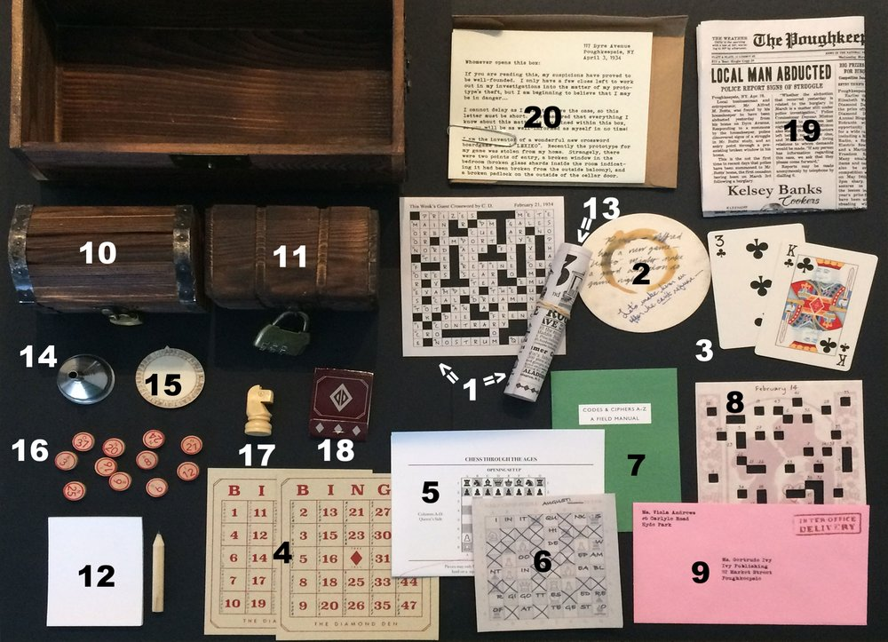- On the bottom of the box, make a pile of papers:1. Crosswords from February 14 and 21 (photo here shows one of them wrapped around the empty glass bottle)2. Diamond Den Coaster3. Two playing cards (3 and K of clubs)4. Two remaining BINGO cards5. Chess instructions page6. Remaining chess puzzle7.