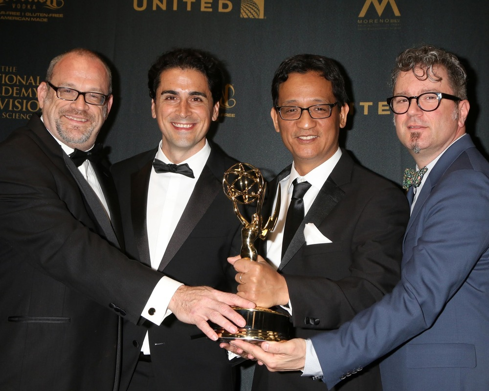 "Receiving our 2016 Emmy Award for ""Outstanding Music Direction and Composition"" with (l-r): Martin Erskine, Steven Rebollido, D.D. Jackson, and J. Walter Hawkes."