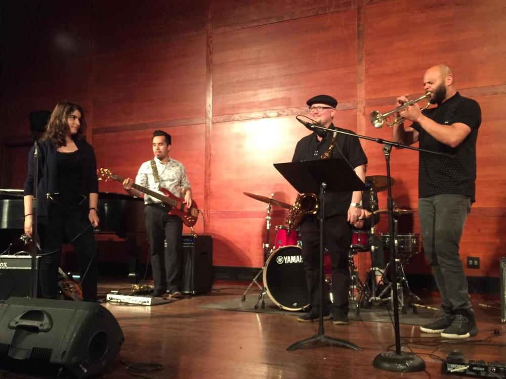 (pictured: vocalist Sarina Mordukhayeva and Alfredo Hernandez on bass with The Roots horn players Ian Hendrickson-Smith and Dave Guy)