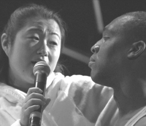 "Yoon Choi and Dean Bowman performing in my 2003 opera ""Quebecite"" at the Guelph International Jazz Festival."